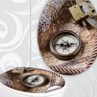 designer klodeckel aufkleber kompass